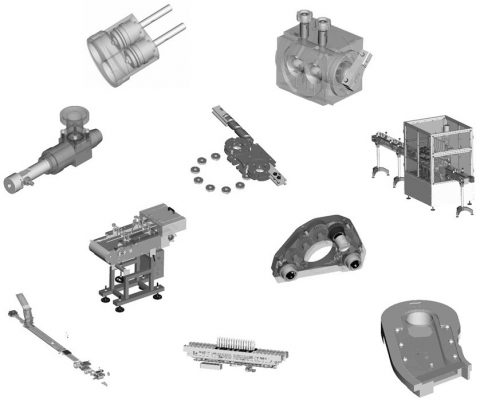 Parts of production lines: bottling lines, metering lines, packaging lines, charging lines, transport lines, PCV